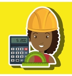 Woman architecture calculator rule vector