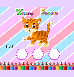 Worksheet writing practice alphabet c for cat vector