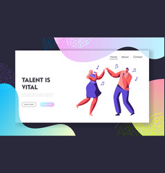 young couple characters singing song vector image