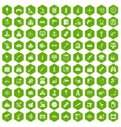100 equipment icons hexagon green vector