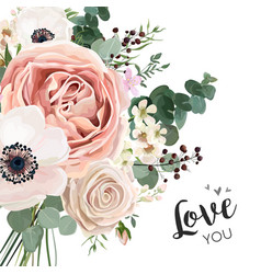 Floral card elegant design with garden flower vector