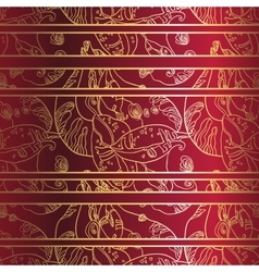Golden laceornament on deep red background vector image