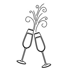 pair of champagne glass cheers drink sparkles vector image