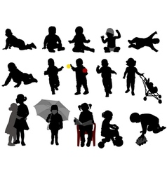 babies and toddlers silhouettes vector image