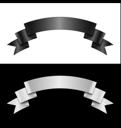 Black and white ribbon vector image vector image
