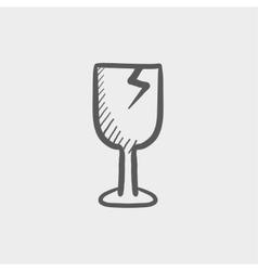 Broken glass wine fragile sketch icon vector