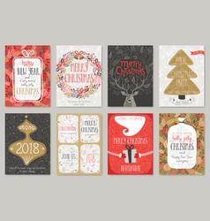 christmas hand drawn card set christmas hand vector image