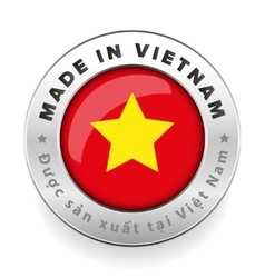 Made in Vietnam button with vietnamese translation vector image