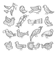 Set of hand drawn birds vector image