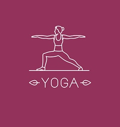 yoga logo in trendy linear style vector image