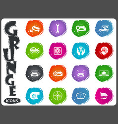 car shop icons set in grunge style vector image vector image
