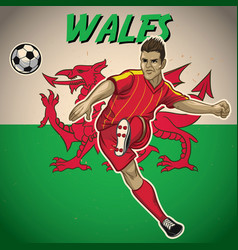 wales soccer player with flag background vector image vector image