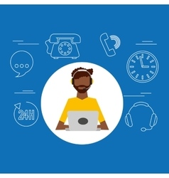 Avatar afroamerican man contact us information vector