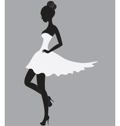 Beautiful girl in white dress vector image vector image