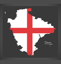 Devon map england uk with english national flag vector