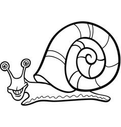 snail mollusk cartoon for coloring book vector image vector image