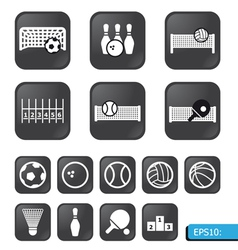 sports icons on black buttons vector image vector image