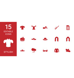 15 stylish icons vector image