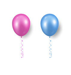 3d realistic pink blue balloon with ribbon vector image
