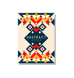 abstrat style ethnic card temlate colorful ethno vector image