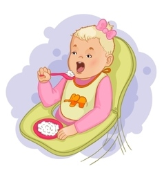Baby girl eats pap sitting in the baby chair vector