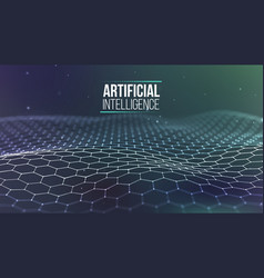 Background 3d grid ai tech wire network vector