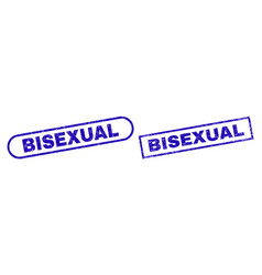 Bisexual blue rectangle stamp with corroded vector