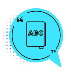 Black line abc book icon isolated on white vector