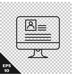 Black line computer monitor with resume icon vector