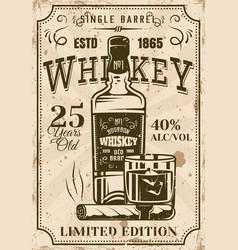 Bottle whiskey with glass cigar vintage poster vector