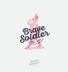 Brave soldier logo beer label pub emblem engrave vector