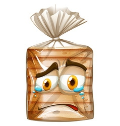 Bread package with crying face vector image