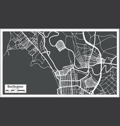Burlington vermont usa city map in retro style vector