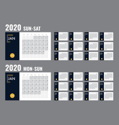 calendar 2020 template planner diary in a vector image