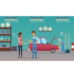 Car Service Garage Cartoon Composition Poster vector