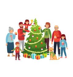cartoon christmas family portrait xmas tree vector image