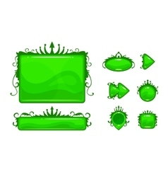 Cartoon green abstract game assets set vector image