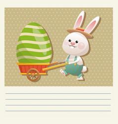 Cartoon happy easter bunny carrying egg vector