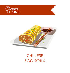 chinese egg rolls on plate with chopsticks and soy vector image