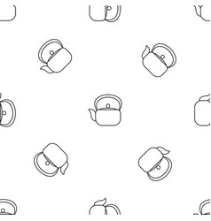 chinese teapot pattern seamless vector image