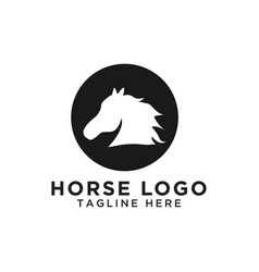 circle horse silhouette logo design template vector image