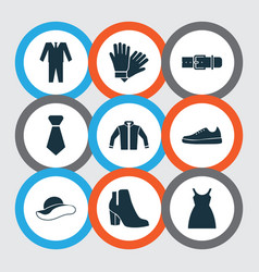Clothes icons set with gumshoes belt sundress vector