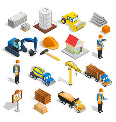 Construction isometric elements set vector
