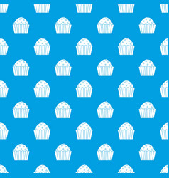 cup cake pattern seamless blue vector image