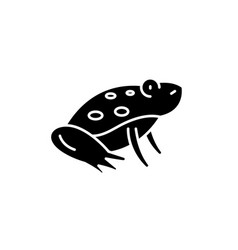 cute frog black icon sign on isolated vector image