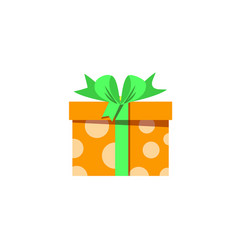 cute orange gift box wrapped with festive ribbon vector image