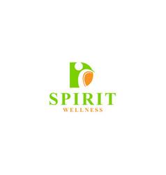 D spirit wellness logo design vector