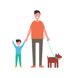 dad and son play with dog isolated on white vector image