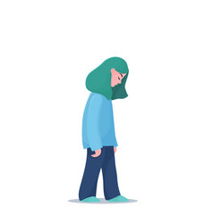 Depressed unhappy girl woman walking slowly vector