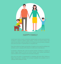 family members mother father son daughter and dog vector image